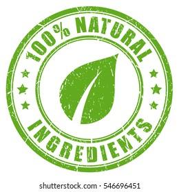 Natural ingredients rubber vector stamp. Green natural stamp imprint.