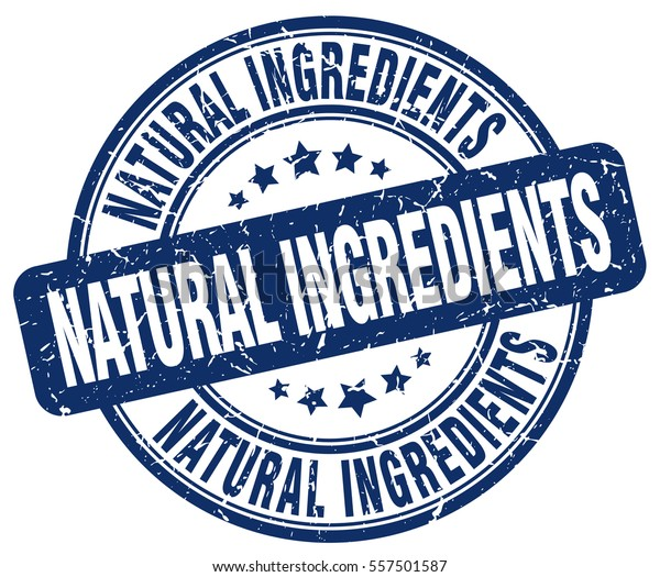 natural ingredients. stamp. blue round grunge vintage natural ingredients sign