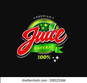 Natural Juice calligraphic handwritten label