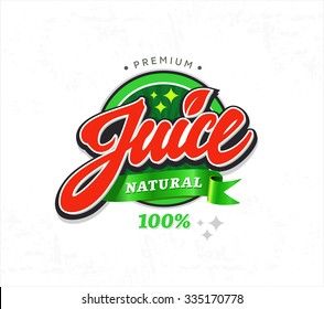 Natural juice sticker. Vector label illustration for 100% natural product. Badge or seal