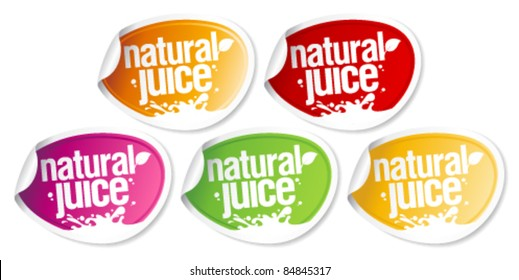 Natural juice stickers set.