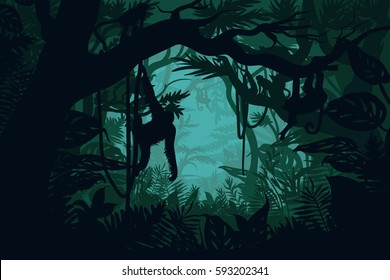 Natural jungle landscape template with monkeys on trees in beautiful green rainforest vector illustration