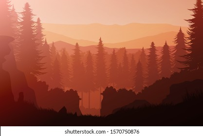 Natural jungle pine forest mountains horizon Landscape wallpaper Sunrise and sunset Illustration vector On cartoons style Colorful view background
