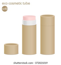 Natural kraft paper cosmetic tube isolated on white. Open lip balm package. Vector