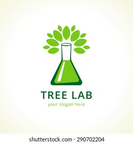 Natural lab logo. Green leaves, tree in a shape of testing flask. Tests, cosmetics, chemist's sign. Scientific environmental researches. Healthy life or products symbol. Pharmaceutical companies.