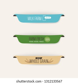 natural label and fresh organic banner. agriculture mark logo farm sticker brush paint design. Milk farm fresh and wheat whole grain.
