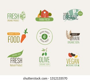 natural label and fresh organic banner. agriculture mark logo farm sticker brush paint design.