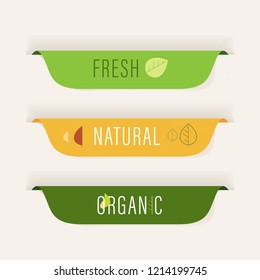 natural label and organic label green color. vintage label and badge design.