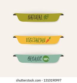 natural label and organic label green color and banner. vintage labels and badges design.