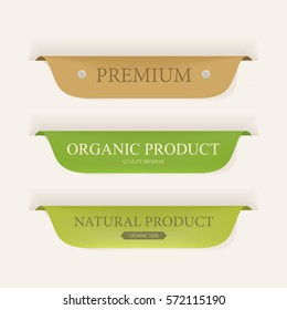 natural label and organic label green color and leather. vintage banner and badges design.