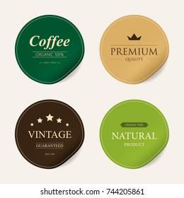 natural label and organic label green color and sticker paper kraft. vintage badges design.