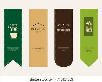natural label and organic label green color and ribbon paper kraft. vintage badges design.