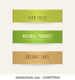 natural label and organic tag green color. banner and badge design.