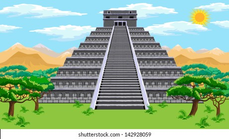 Natural landscape with the ancient aztec pyramid. Vector.