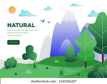 Natural landscape background with green grass, trees mountains and blue clound in sky with space for text. Summer countryside scenery, outdoor backdrop template. Vector illustration