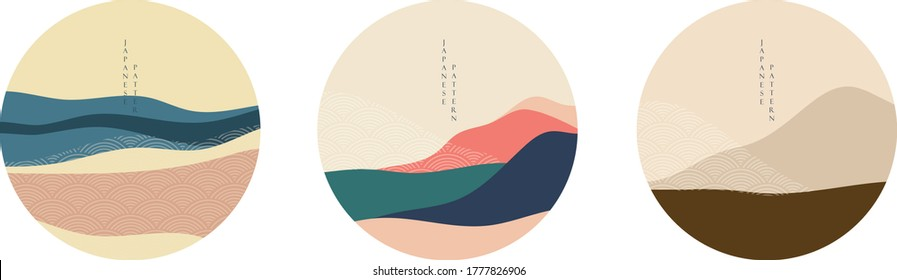 Natural Landscape background with Japanese pattern vector. Geometric template in traditional of Japan. Mountain in Asian poster design. Abstract arts. Logo design.