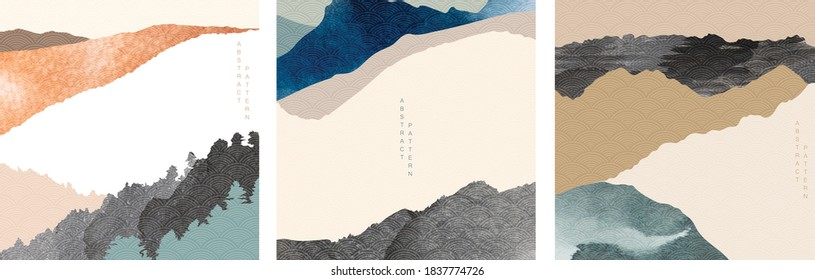 Natural landscape background with Japanese pattern vector. Mountain forest template with painting brush elements. Abstract wide wallpaper.