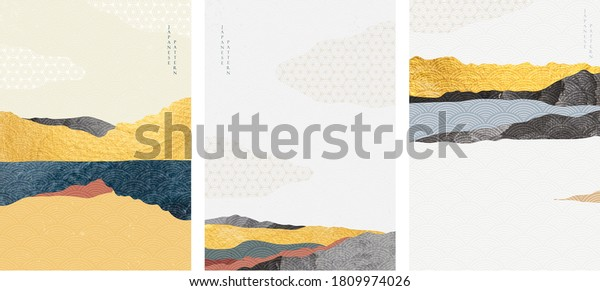 Natural landscape background with Japanese wave pattern vector. Mountain forest template with gold texture. Abstract arts wallpaper.