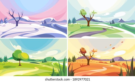 Natural landscape at different times of year. Beautiful non-urban scenes.