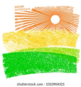 Natural landscape with fields and sun in sky. Vector abstract illustration on old paper background