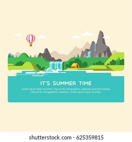 Natural landscape with hills, mountains and waterfall. Summer time. Vector illustration.