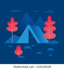 Natural landscape illustration. Night forest landscape with mountains and plants. Vector illustration