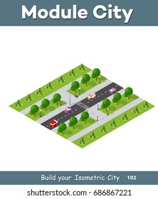 Natural landscape isometric forest with trees and plants, expressway with cars