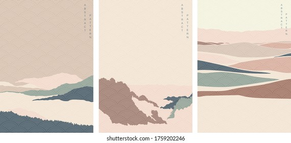 Natural landscape with Japanese wave pattern vector. Abstract art background with Mountain forest template.