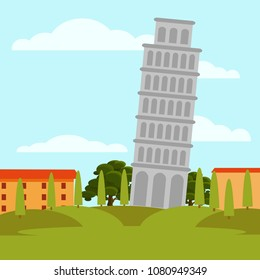 Natural landscape with Leaning Tower of Pisa, green meadow, trees and buildings on background. Famous Italy landmark. Flat vector design
