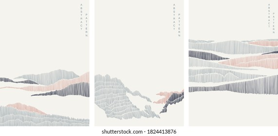 Natural landscape with line pattern vector. Abstract art background with Mountain forest template.