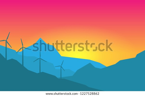 Natural Landscape Mountain View Wind Power Stock Vector Royalty