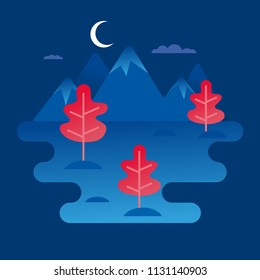 Natural landscape. Night forest landscape with mountains, plants, hills and clouds. Vector illustration