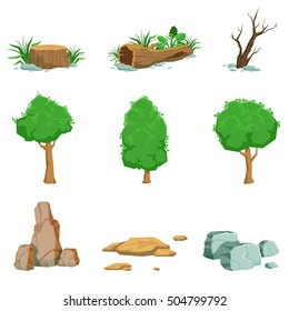 Natural Landscape Objects Set Of Detailed Icons