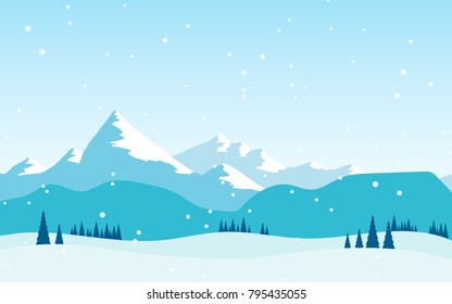 Natural landscape panorama view of cold snowy mountain range among the snow filed in winter with some pine tree and snow is falling in winter season