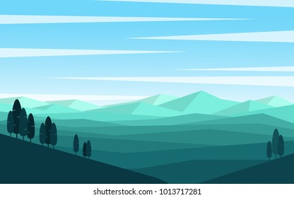 Natural landscape panorama view of green grass mountain  range with some pine tree and many mountain range far away with clear blue sky