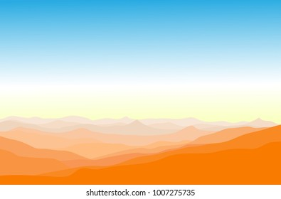 Natural landscape panorama view of lots of mountain ranges in bird eye view, with river in the middle among the mountain range in orange color-morning tone for wallpaper or background or backdrop