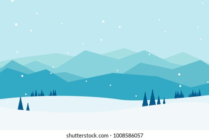 Natural landscape panorama view of lots of mountain ranges with field of snow, pine tree  and snow falling, in blue color-winter tone for wallpaper or background or backdrop