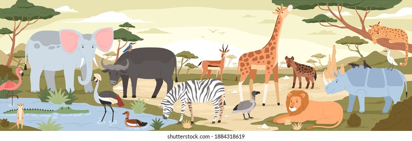 Natural landscape with savannah animals, reptiles and birds. Panoramic colorfuscenery with wild habitant. Exotic savanna inhabitants in african national park. Flat vector illustration in cartoon style