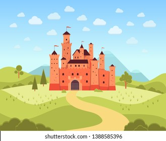 Natural landscape with terracotta medieval castle flat cartoon style, vector illustration on panorama background. Fantasy or fairytale palace tower, kingdom architecture building