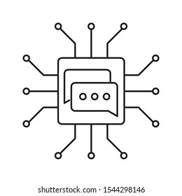 Natural language processing icon. Outline thin line illustration. Flat and isolated on white background.