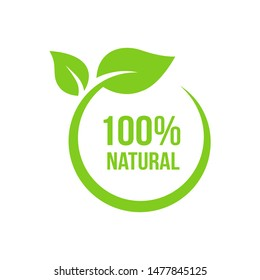 Natural leaf icon. 100% naturals vector image