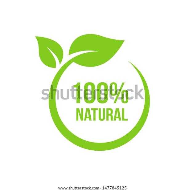 Natural leaf icon. 100% naturals vector image