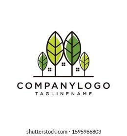 Natural leaf logo, leaf house, cannabis, green house window icon, eco building, modern logo leaf.