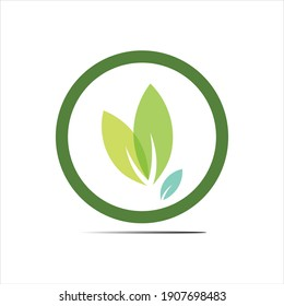 natural leaves logo vector icon illustration design template