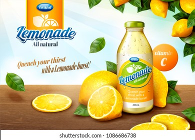 Natural lemonade juice with sliced fruit on wooden table in 3d illustration, orchard frame