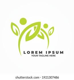 Natural lifestyle logo. People leaf symbol yoga