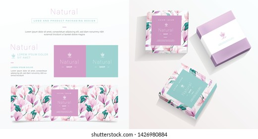 Natural logo and packaging design template. Natural soap package mockup created by vector. Watercolor floral pattern for branding and corporate identity design.