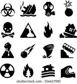 Natural and man made disaster icons
