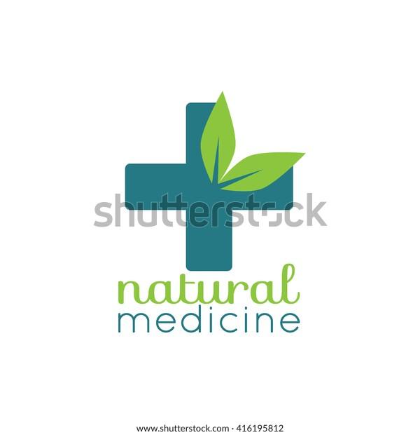 Natural Medicine Logo Healthcare Logotype Design Stock Vector Royalty Free 416195812
