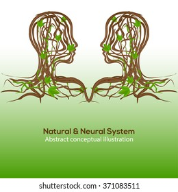 Natural and neural system, abstract conceptual illustration